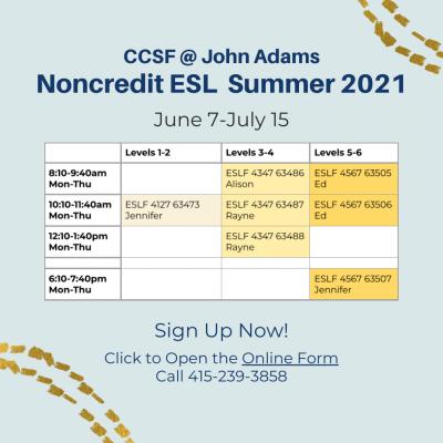 Ccsf Summer 2022 Calendar.John Adams Center Ccsf