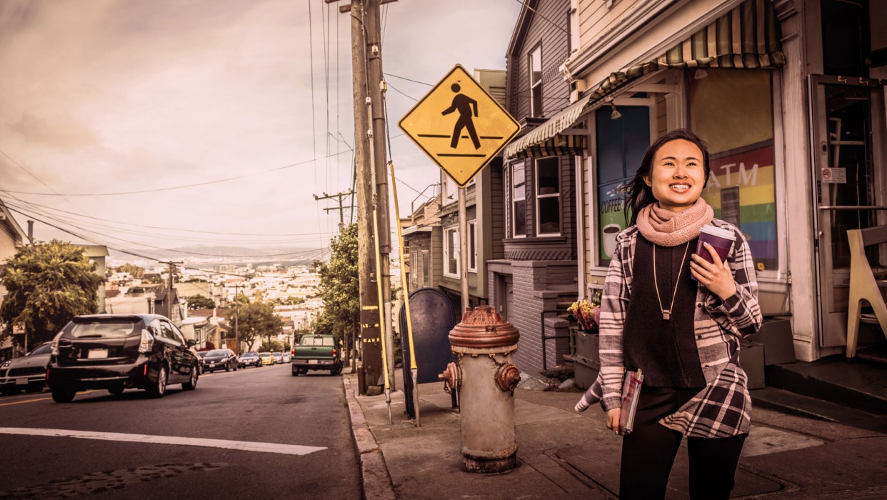 Girl stands on streets of san Francisco